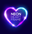 Night club neon heart sign 3d retro light frame vector image