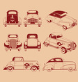 Old Car Silhouette in Several Positions vector image