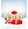winter sale background with shopping bags and vector image
