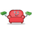 with money red sofa character cartoon vector image