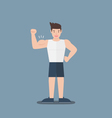 gym fitness muscular cartoon man show biceps flat vector image