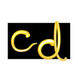 latin letters c and d made of liquid honey vector image