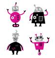 cute retro robots vector image vector image