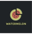 Watermelon into flat style with a triangular piece vector image