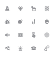 gray simple flat icon set 7 vector image