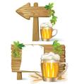Beer wooden board sign vector image vector image