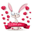 crazy rabbit - valentine day vector image