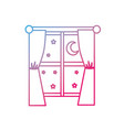 line window with curtain the night and moon with vector image