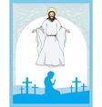 man prays to Jesus vector image