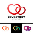 two hearts logo abstract symbol of love vector image
