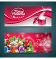 Merry Christmas banner with magic gift box vector image