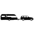 Vehicle towing a caravan silhouette vector image