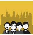 business people with city background image vector image