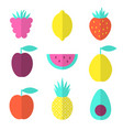 fruits flat set with raspberry lemon and vector image