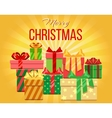 Merry Christmas greeting card with heap of vector image