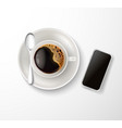 realistic cup coffee saucer spoon phone vector image