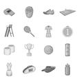 Tennis icons set gray monochrome style vector image