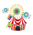 A monster at the amusement park with fireworks vector image vector image