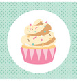 Card template with yummy cupcacke vector image