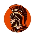 Ancient warrior in helmet symbol vector image