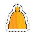 Orange Hat with Pom Pom vector image