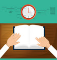 person to reading the book in class time vector image