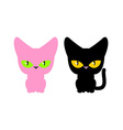 Pink and black cat set pets Animal on white vector image