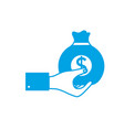 silhouette man hand with bag with cash money vector image