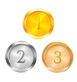 Three prize medals vector image