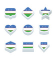 uzbekistan flags icons and button set nine styles vector image