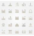 World landmarks colorful icons vector image