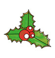 merry christmas leafs decorative vector image