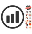 Bar chart increase icon with dating bonus vector image