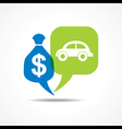 Car and dollar symbol in message bubble vector image