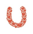 hand-drawn heart-shaped colorful alphabet vector image