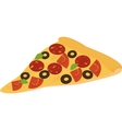 slice of pizza with salami pepperoni tomato and vector image
