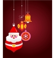Christmas greeting card with santa and ornaments vector image