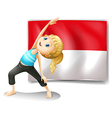 A girl doing her exercise in front of the vector image vector image