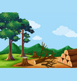 forest scene with chopped woods vector image vector image