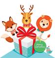 Gift box and Deer Fox Lion Bird vector image