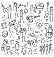 Musicians doodles set vector image