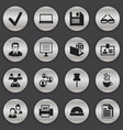 set of 16 editable office icons includes symbols vector image