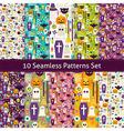 Ten Flat Seamless Halloween Party Patterns Set vector image