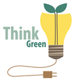 Think green Eco concept Light bulb with tree vector image vector image