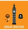 Big Ben tower and other britain objects vector image