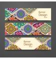 Colorful ornamental ethnic banner set vector image
