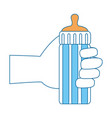 hand human with bottle baby vector image