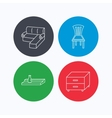 Corner sofa nightstand and chair icons vector image