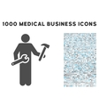 Serviceman Icon with 1000 Medical Business Symbols vector image