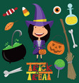 witch and halloween objects vector image